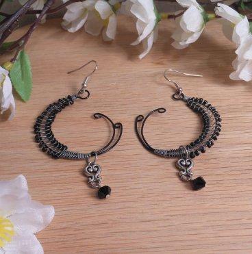 Necklace Earrings Set Elegant Black Sterling Silver Beaded Wire Swarovski Beads 3