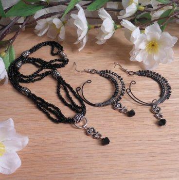 Necklace Earrings Set Elegant Black Sterling Silver Beaded Wire Swarovski Beads