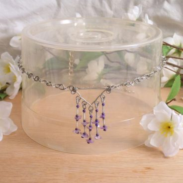 Necklace Earrings Set Formed Wire Real Amethyst 2