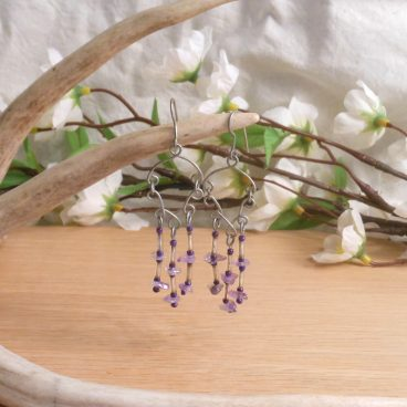 Necklace Earrings Set Formed Wire Real Amethyst 3