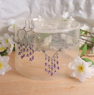 Necklace Earrings Set Formed Wire Real Amethyst