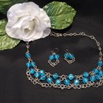 Necklace Earrings Set Formed Wire with Silver Plated and Bright Blue Beads Chain Link Chainmaille
