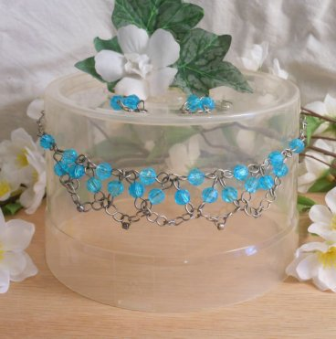 Necklace Earrings Set Formed Wire with Silver Plated Bright Blue Beads Chain Link Chainmaille