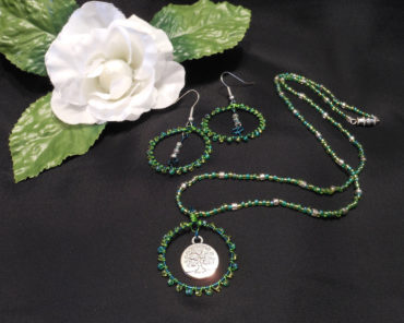 Necklace Earrings Set Green Wire Weave and Beads Tree of Life Pendant Earthy Goddess