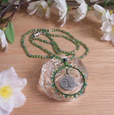 Necklace Earrings Set Green Wire Weave Beads Tree of Life Pendant Earthy Goddess 2