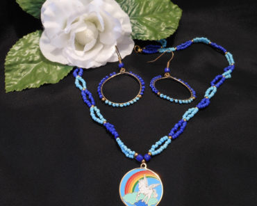 Necklace Earrings Set Pale and Bright Blue Beaded with Gold Pegasus Clouds Rainbow Pendant