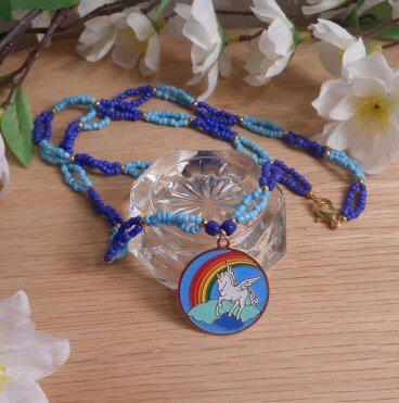 Necklace Earrings Set Pale Bright Blue Beaded Gold Pegasus Clouds Rainbow Pendant 2