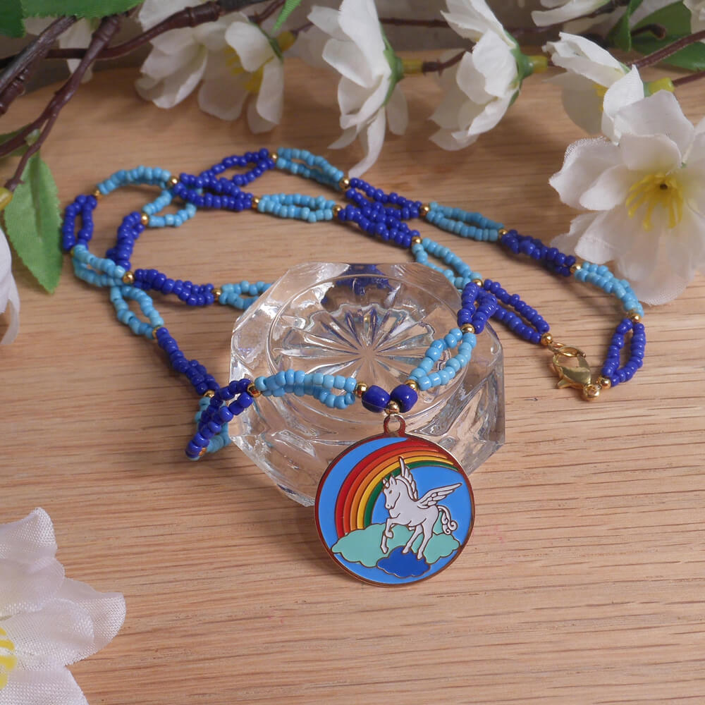 Necklace Earrings Set Pale Bright Blue Beaded Gold Pegasus Clouds Rainbow Pendant 2