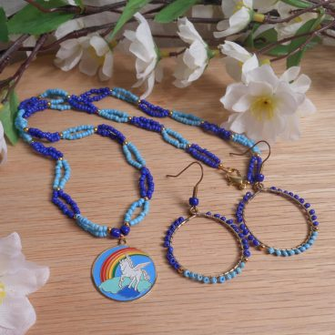 Necklace Earrings Set Pale Bright Blue Beaded Gold Pegasus Clouds Rainbow Pendant