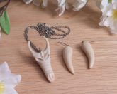 Necklace Earrings Set Sculpted Polymer Clay Dragon Skull Dragon Talons Dragon jewelry