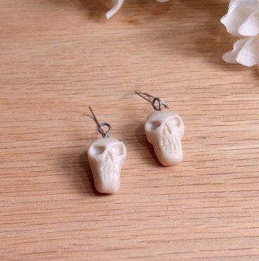 Necklace Earrings Set Sculpted Skull Necklace Tiny Skulls Earrings skull jewelry