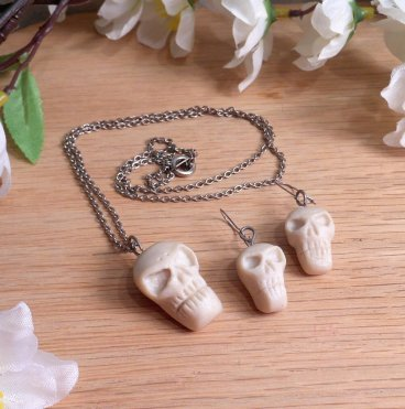 Necklace Earrings Set Sculpted Skull Necklace Tiny Skulls Earrings skull jewelry