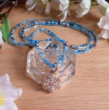 Necklace Earrings Set Wire Weave Beads Snowflake Icy Colors Frozen Blue and Silver 2