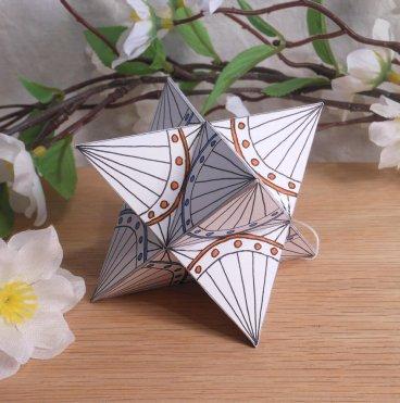 Ornament Merkaba Stella Octangula Orange Blue White Zen Tangle Doodle Stellated Octahedron Star Tetrahedron