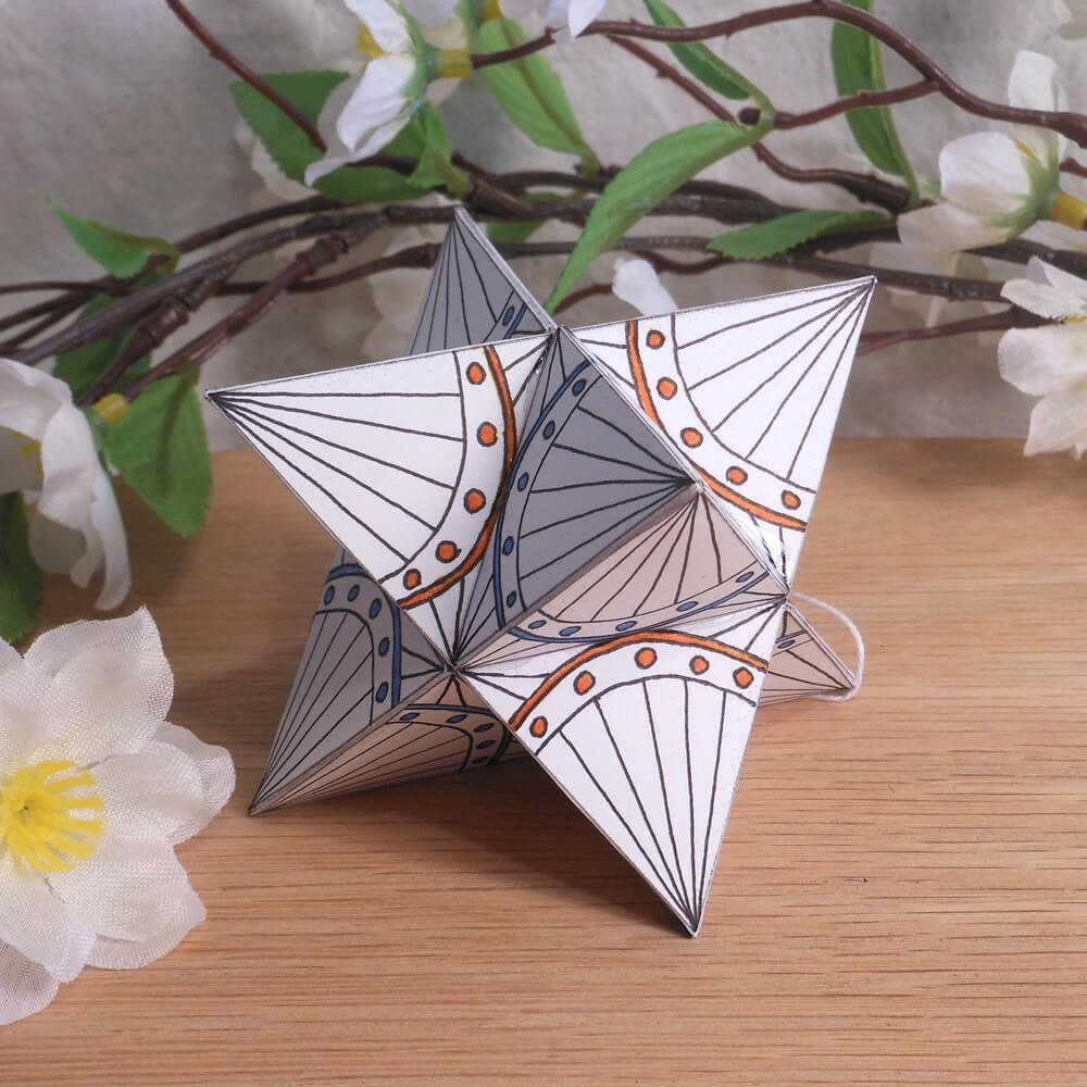 Ornament Merkaba Stella Octangula Orange Blue White Zen Tangle Doodle Stellated Octahedron Star Tetrahedron