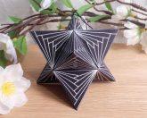 Ornament Merkaba Stella Octangula White Black 2 Zen Tangle Doodle Stellated Octahedron Star Tetrahedron