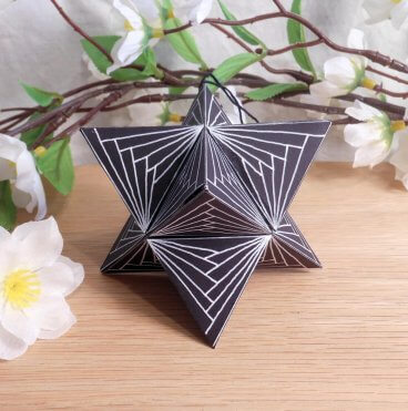 Ornament Merkaba Stella Octangula White Black 2 Zen Tangle Doodle Stellated Octahedron Star Tetrahedron