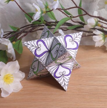 Ornament Merkabah Stella Octangula Purple Green Hearts White Zen Tangle Doodle Stellated Octahedron Star Tetrahedron