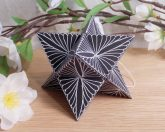 Ornament Merkabah Stella Octangula White Black 1 Zen Tangle Doodle Stellated Octahedron Star Tetrahedron