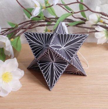 Ornament Merkabah Stella Octangula White Black 1 Zen Tangle Doodle Stellated Octahedron Star Tetrahedron