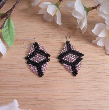 Pale Pink Black Peyote Stitch Beaded pink Earrings