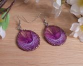 Parabolic Purple Hoop Earrings Purple Bead Accents
