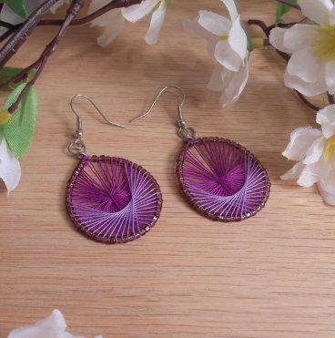 Parabolic Purple Hoop Earrings Purple Bead Accents