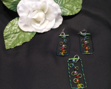 flower jewelry Pendant Earrings Set Flowers On Trellis Beaded Flower Earrings