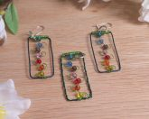 Pendant Earrings Set Flowers Trellis Beaded Green Wire