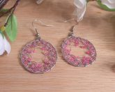 Pink Silver Tone Hoop Dreamcatcher Earrings