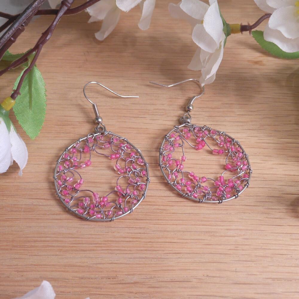 Pink Silver Tone Hoop Dreamcatcher Earrings