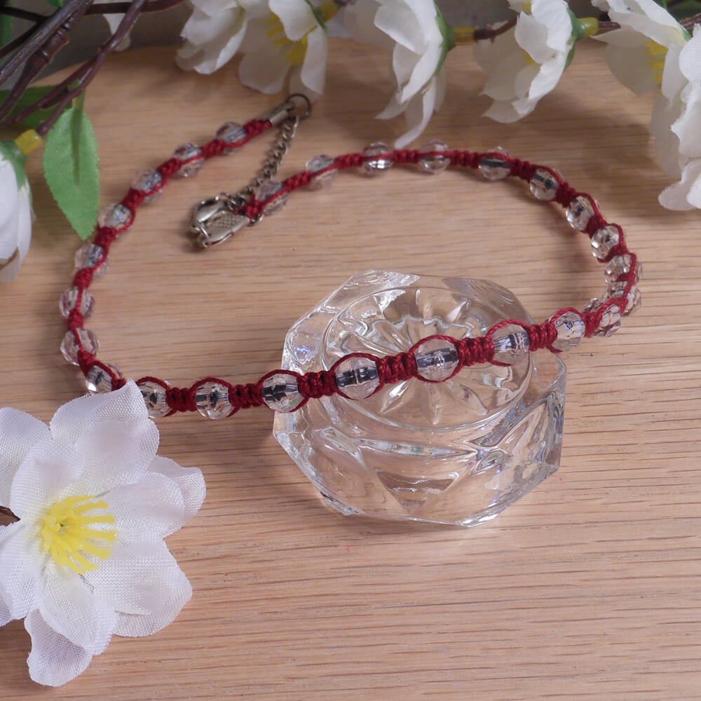 Red Macrame Necklace Faceted Beads and Silver Clasp detail