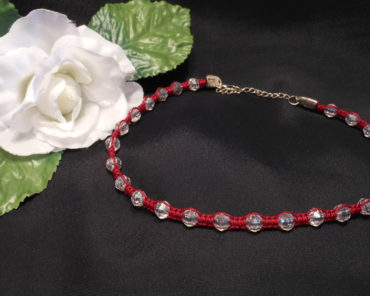 Red Macrame Necklace with Faceted Beads and Silver Clasp