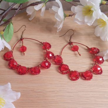 Regal Red Bead Wrapped Hoop Dangle Faceted Bead Earrings Shepherd Hook