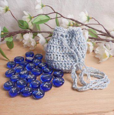 Rune Bag Blue White Crocheted Elder Futhark Glass Runestones Talisman Bag Pagan Wiccan Heathen