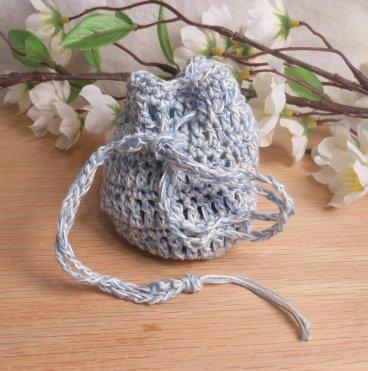 Rune Bag Blue White Crocheted Elder Futhark Glass Runestones Talisman Bag Pagan Wiccan Heathen closed