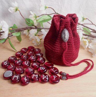 Rune Bag Burgundy Crocheted Elder Futhark Steel Beads Red Runestones Talisman Bag