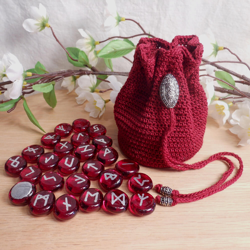 Rune Bag Burgundy Crocheted Elder Futhark Steel Beads Red Runestones Talisman Bag