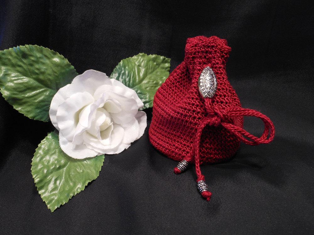Rune Bag Burgundy Crocheted Elder Futhark drawstring bag pattern Talisman Bag