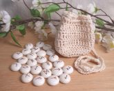 Rune Bag Cream White Crocheted Elder Futhark Glass Runestones Talisman Bag