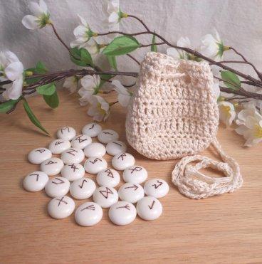 Rune Bag Cream White Crocheted Elder Futhark Glass Runestones Talisman Bag