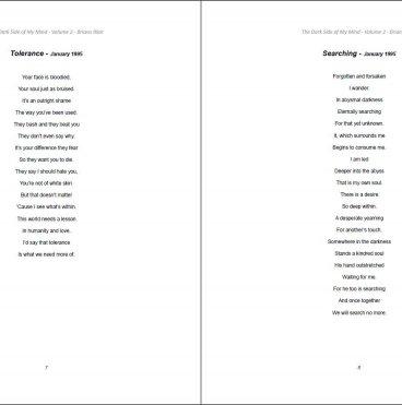 The Dark Side of My Mind – Volume 2 By Briana Blair – Poetry