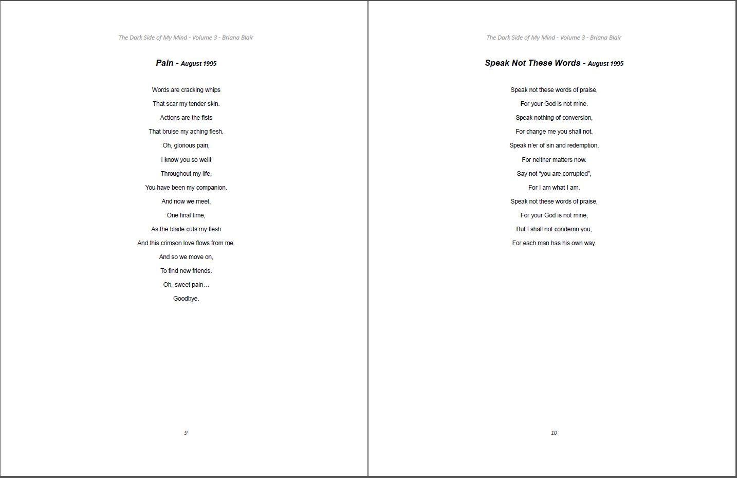 The Dark Side of My Mind – Volume 3 By Briana Blair – Poetry