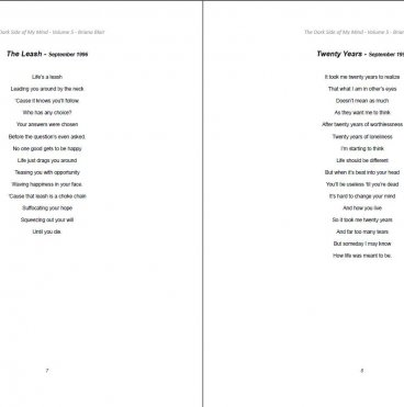The Dark Side of My Mind – Volume 5 By Briana Blair – Poetry