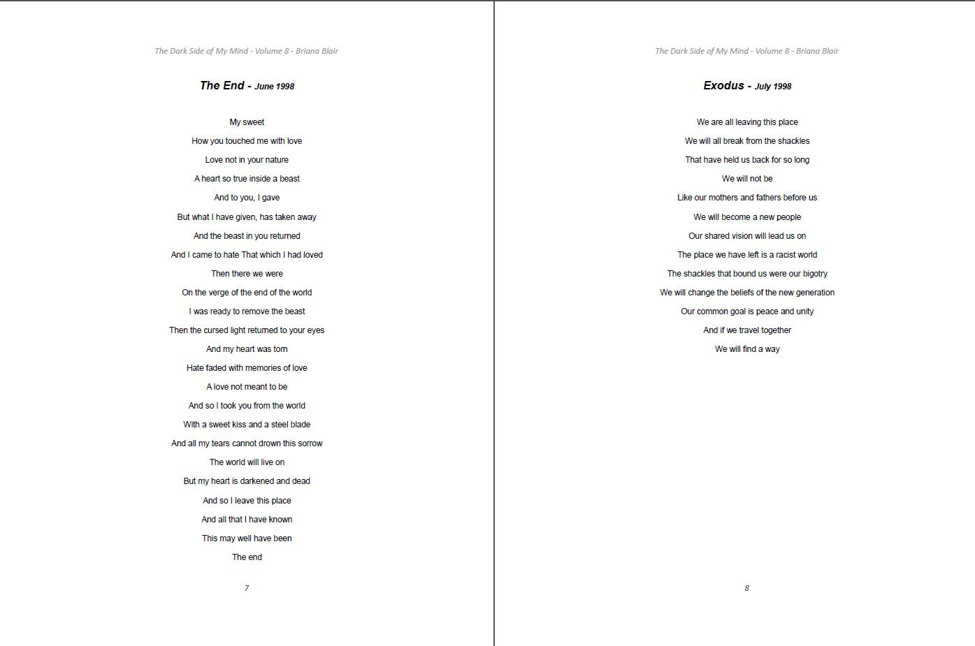 The Dark Side of My Mind - Volume 8 By Briana Blair - Poetry