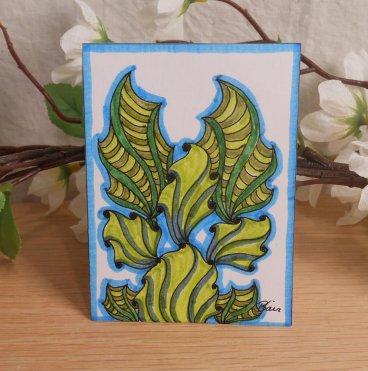 ACEO #3 Ocean Wonder Angel Fish Zen Tangle Doodle Art Card by Briana Blair 2