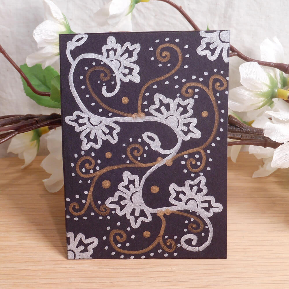ACEO #7 Winter Floral Henna Drum Zen Tangle Art Card by Briana Blair
