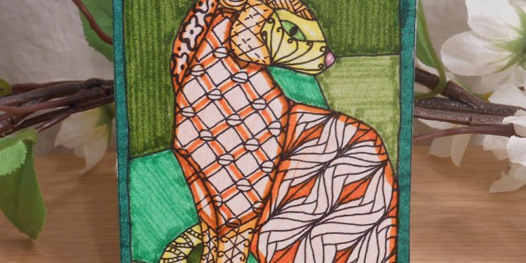 ACEO Cat in Orange and Green Zen Tangle Art Card by Briana Blair 2