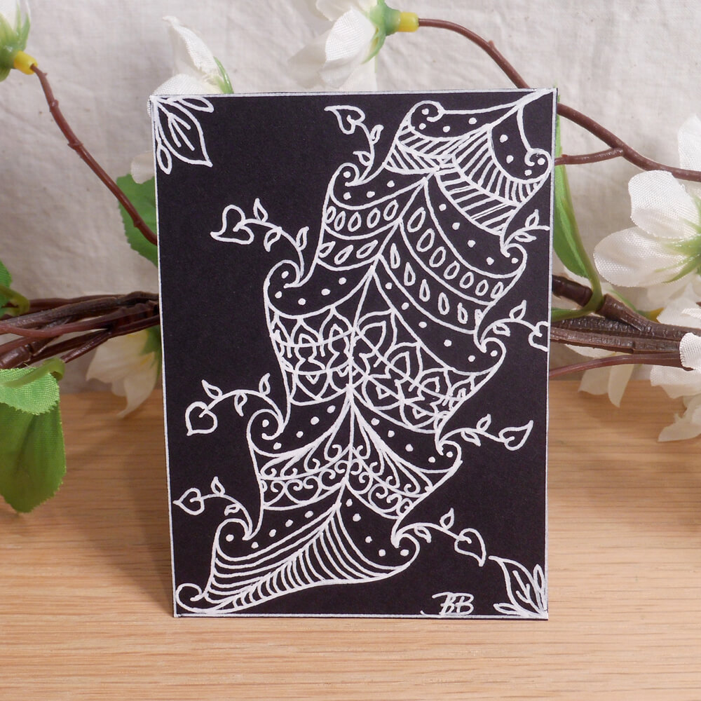 ACEO Fancy Feather Zen Tangle Art Card by Briana Blair