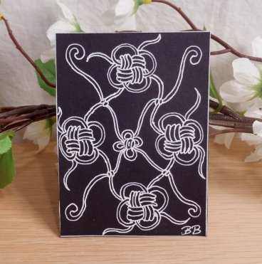 ACEO Four Knots Zen Tangle Art Card by Briana Blair